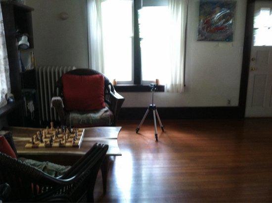 "Morning Glory B&B Woodstock: ""Rec"" room- a chessboard and a yoga ball"