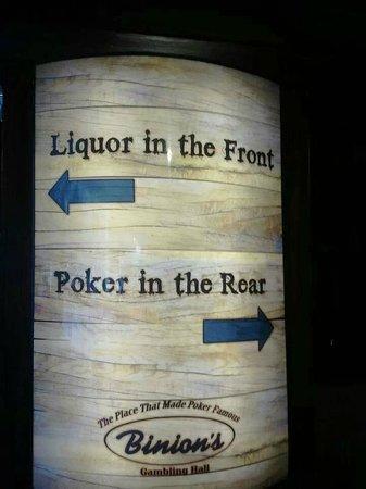 Binion's Gambling Hall : Binions Whiskey Licker Bar sign