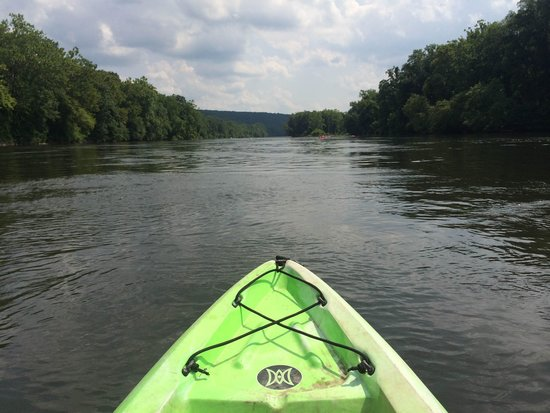 Delaware River Tubing: View from the front of our kayak- can you see tubers in the distance??