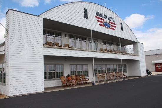 Hangar Hotel: This side faces a runway and great for watching sunset.