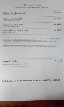 Restaurant Sonne : The menu