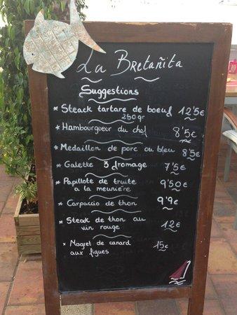 La Bretanita : Le menu