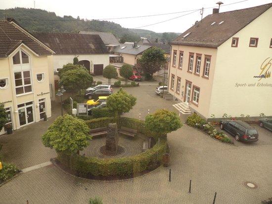 Gillenfeld, Deutschland: Vanaf onze kamer een mooi uitzicht op het terrein