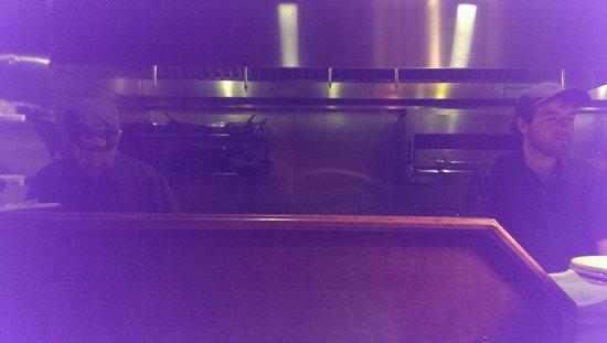 Tupelo Honey: First night: Bar seat, kitchen view.