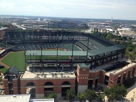 Camden Yards view from the 20th floor of Hilton Baltimore.