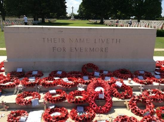 British War Cemetery: Monument with Poppy Wreaths