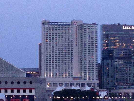 Baltimore Marriott Waterfront: Marriott from across the harbor