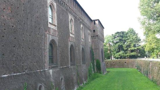 Castello Sforzesco: Корни растений настолько вросли в стены, что их нельзя убирать- стена разрушится
