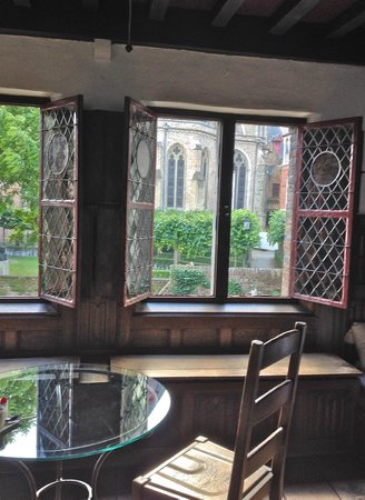 Nuit Blanche: Original stained glass windows/cathedral garden view