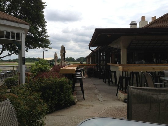 The outdoor patio at 57th Fighter Group Restaurant