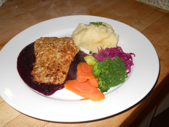 Surry Inn: Salmon with Walnuts on a sauce of maine wild blueberries and burgundy wine