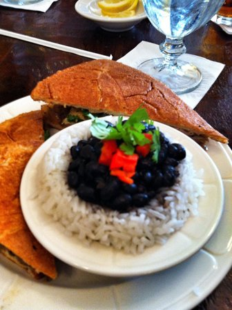 Dining Room: Pulled pork with black beans and rice, ask for the special hot sauce, yum