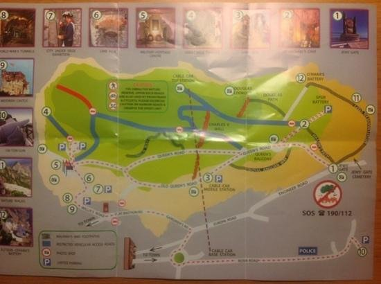 free map from Gibraltar Nature Reserve Upper Rock Picture of