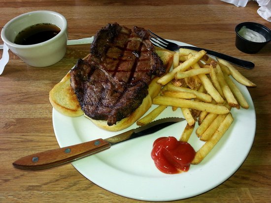 Mackinaw's Bar and Grill : Primerib sandwich and fries