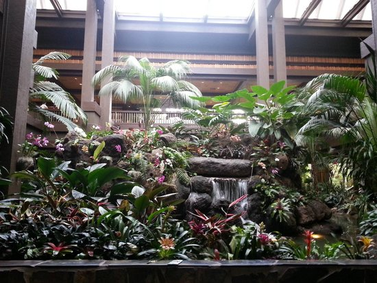 Disney's Polynesian Village Resort: Lobby plants and waterfall
