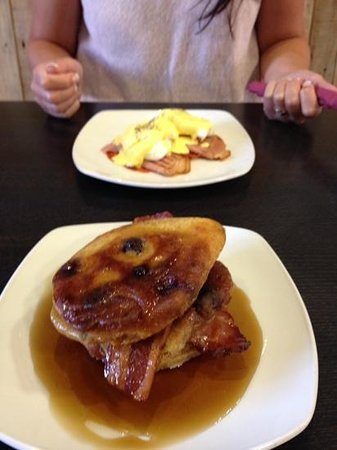 The Deli : blueberry pancakes, smoked bacon & maple syrup. yum yum