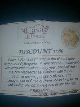 Casa Di Roma: Sconto 10% presentanti questo coupon