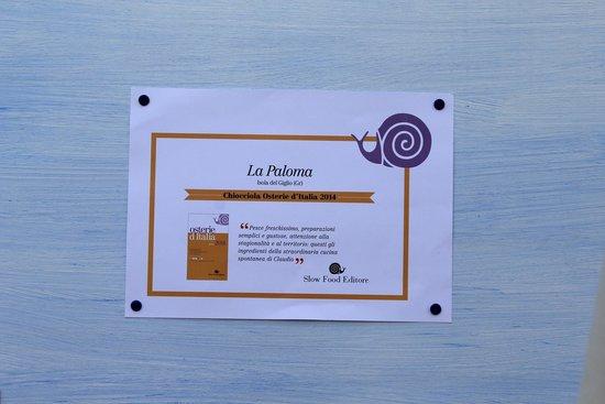 La Paloma : Ristorante segnalato in Osterie d'Italia