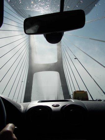 Vasco da Gama Bridge- morning, driving through the fog the longest bridge in Europe,just amazing