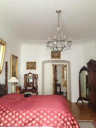 View of one of the two bedrooms from window