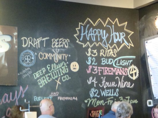 Shady's Burgers: Drink menu on wall