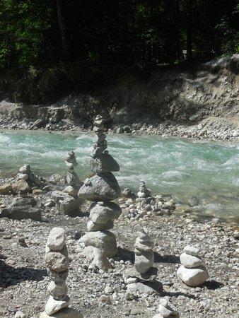 Partnachklamm: artistic piles of river rocks.