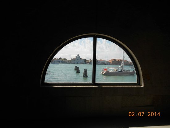 Punta della Dogana: Looking out of window across Giudeca Canal
