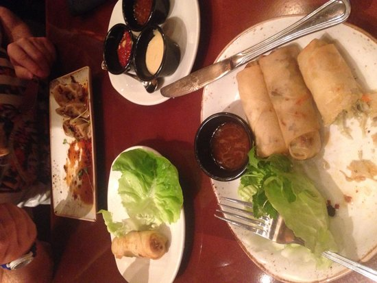 P.F. Chang's: Spring rolls and pork dumplings