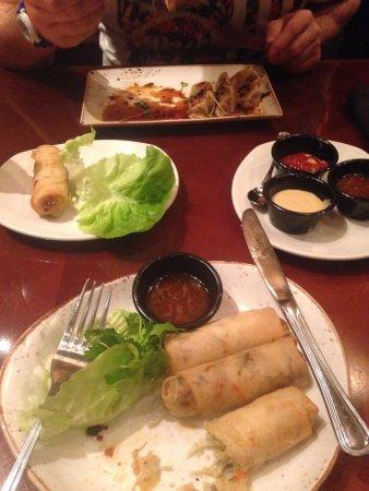 P.F. Chang's: Spring rolls and pork dumplings
