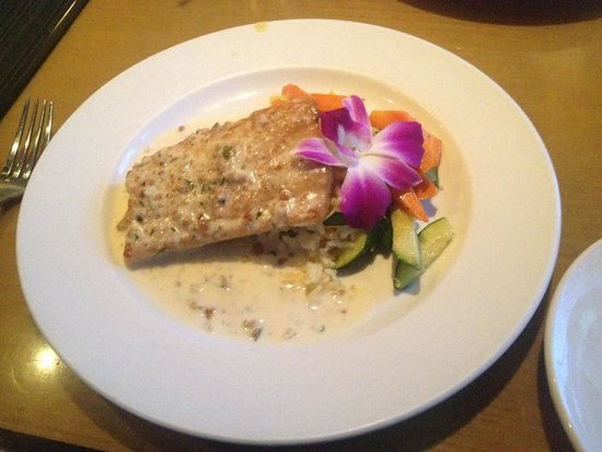 The Cottage La Jolla : Granola Crusted Mahi on top of Jasmine Rice with Seasonal Vegetables