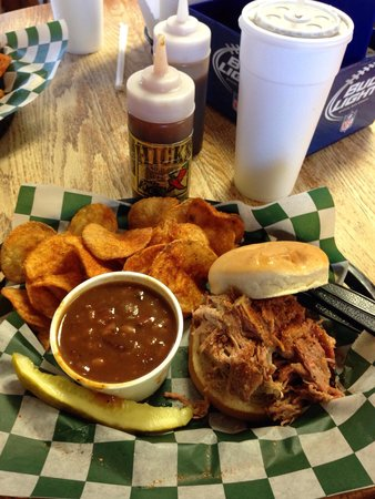 Hicks Bar-B-Que Co.: Pulled pork, beans, and chips.