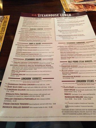 LongHorn Steakhouse : Lunch menu