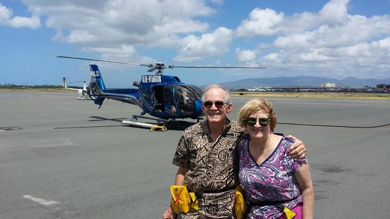 Blue Hawaiian Helicopter Tours - Oahu: Picture of us after the tour.