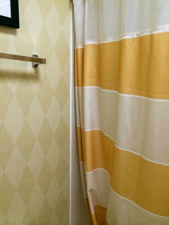 Residence Inn Deptford: wallpaper and shower curtain mismatched and outdated