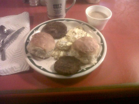 Abe's Grill: Abe's Country Breakfast; Eggs, Sausage, Biscuits & Gravy, & Coffee $6