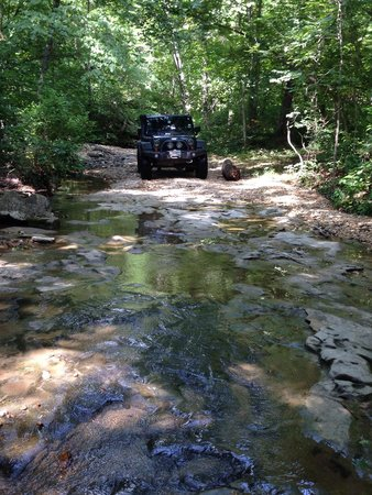 Southern Missouri Off Road Ranch SMORR: An open slick rock, but easy trail through one of the creeks.