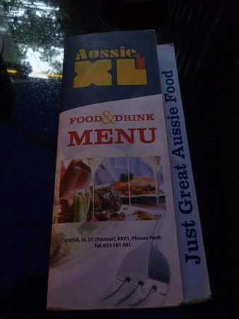 Aussie XL Cafe: The menu