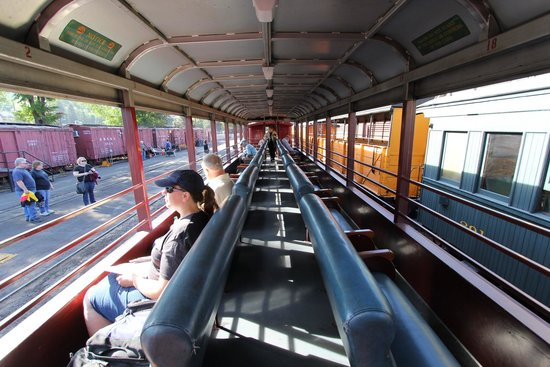 Durango and Silverton Narrow Gauge Railroad and Museum : Inside deluxe open air car