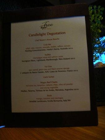 Tree Tops Sky Dining & Bar : menu