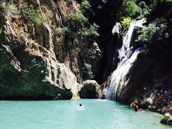 Polylimnio Waterfall: Polylimnio lake and waterfalls
