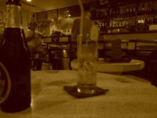 Sunset bar: Joking about Ginger Ale