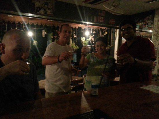 Sunset Bar: On the house tequila shots for the honeymooning couple
