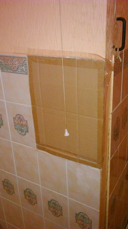 Whitehall Guest House: Cardboard sellotaped in bathroom