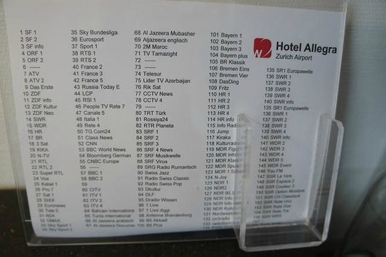 Hotel Allegra: Great selection of TV channels