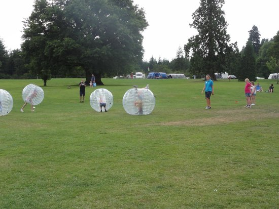 Whitemead Forest Park: Body Zorbs in action