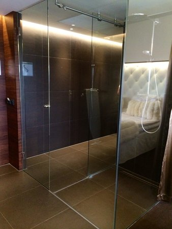 Hotel Riverton: The bathroom is like a glass cube. Curtains are used to 'close it'. Very cool!