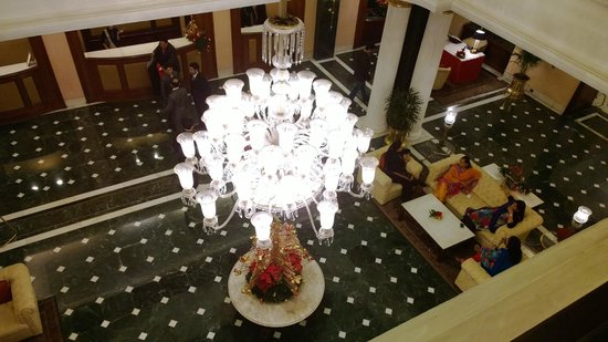 The Oberoi Grand: Original Chandelier in the lobby