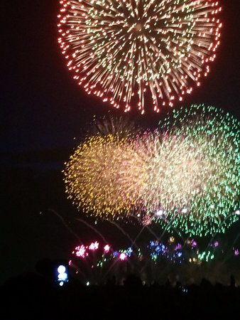 Makuhari Kaihin Park: 海浜幕張公園のシーサイド席(駐車場)からの花火の眺め
