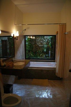 Cham Villas: Большая ванная комната с живым садом за стеклом