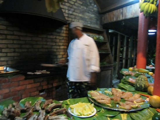 Young Island Resort: BBQ night - choose your meats and they grill it fresh for you